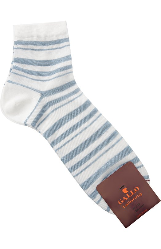 Хлопковые носки в полоску GalloНоски<br>Белые носки в синюю полоску вошли в коллекцию сезона весна-лето 2016 года. Мастера марки изготовили модель из прочного эластичного хлопка, не подверженного выцветанию и деформации после многократных стирок. Плоский кеттельный шов на мысе выполнен вручную.<br><br>Пол: Женский<br>Возраст: Взрослый<br>Размер производителя vendor: NS<br>Материал: Хлопок: 70%; Полиамид: 27%; Полиэстер: 2%; Эластан: 1%;<br>Цвет: Белый