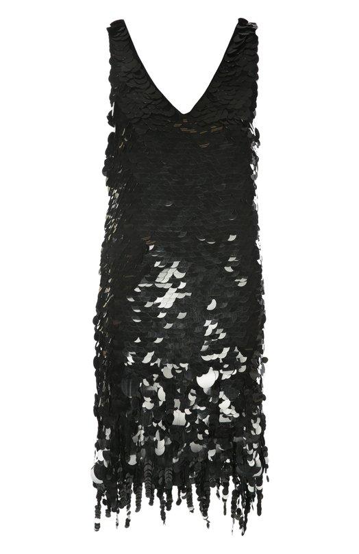 Шелковое мини-платье с пайетками и глубоким вырезом Marni ABMAT88S32RI085