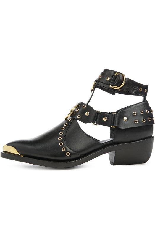 Кожаные ботинки с люверсами и заклепками Balmain S6CBH350206M