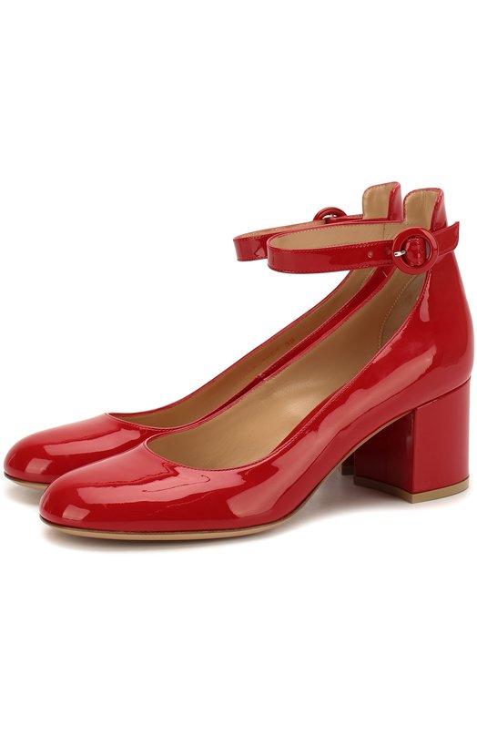 Лаковые туфли Greta с ремешком на щиколотке Gianvito RossiТуфли<br>Джанвито Росси дополнил туфли на устойчивом каблуке средней высоты тонким регулируемым ремешком с круглой пряжкой. Для изготовления модели с закругленным мысом и высоким задником мастера бренда использовали мягкую лакированную кожу красного цвета.<br><br>Российский размер RU: 36<br>Пол: Женский<br>Возраст: Взрослый<br>Размер производителя vendor: 36-5<br>Материал: Кожа натуральная: 100%; Стелька-кожа: 100%; Подошва-кожа: 100%;<br>Цвет: Красный