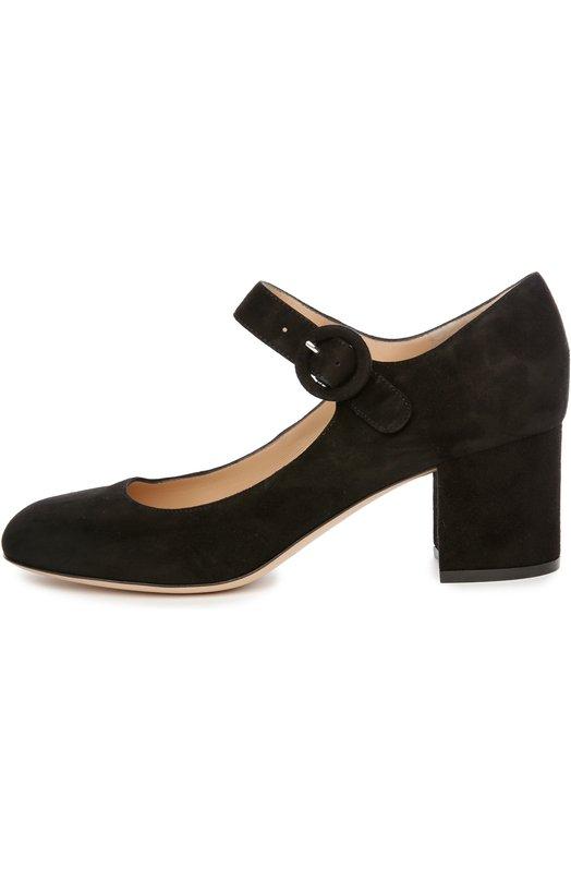 Замшевые туфли на устойчивом каблуке Gianvito RossiТуфли<br>Мастера марки, основанной Джанвито Росси, сшили туфли на невысоком устойчивом каблуке из мягкой фактурной замши черного цвета. Модель из коллекции сезона весна-лето 2016 года фиксируется на щиколотке с помощью ремешка с круглой пряжкой.<br><br>Российский размер RU: 34<br>Пол: Женский<br>Возраст: Взрослый<br>Размер производителя vendor: 34-5<br>Материал: Стелька-кожа: 100%; Подошва-кожа: 100%; Замша натуральная: 100%;<br>Цвет: Черный