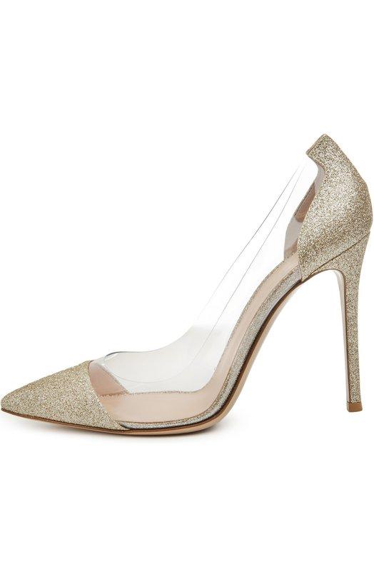 Купить Туфли Plexi с глиттером на шпильке Gianvito Rossi Италия 5025513 G20140/BRIGHT+PLEXI