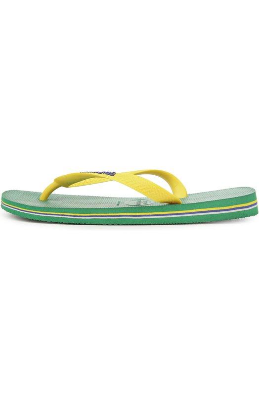 Резиновые шлепанцы Brasil Logo HavaianasШлепанцы<br>Вьетнамки Brasil Logo, созданные из пластичной резины, вошли в коллекцию сезона весна-лето 2016 года. Подошва дополнена полосками трех цветов: зеленого, синего и желтого. Y-образный контрастный ремешок желтого цвета украшен логотипом марки и небольшой пластиной в виде бразильского флага.<br><br>Российский размер RU: 38<br>Пол: Женский<br>Возраст: Взрослый<br>Размер производителя vendor: 37/38<br>Материал: Резина: 100%; Подошва-резина: 100%; Стелька-полиуретан: 100%;<br>Цвет: Зеленый