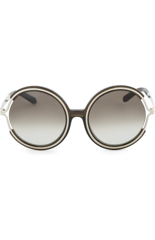Солнцезащитные очки Chlo?Очки<br>Солнцезащитные очки Jayme с градиентными стеклами серого цвета вошли в осенне-зимнюю коллекцию 2016 года. Оправа круглой формы произведена из темно-серого прозрачного пластика, внутренний ободок и дужки – из легкого металла золотистого цвета.<br><br>Пол: Женский<br>Возраст: Взрослый<br>Размер производителя vendor: NS<br>Цвет: Бесцветный