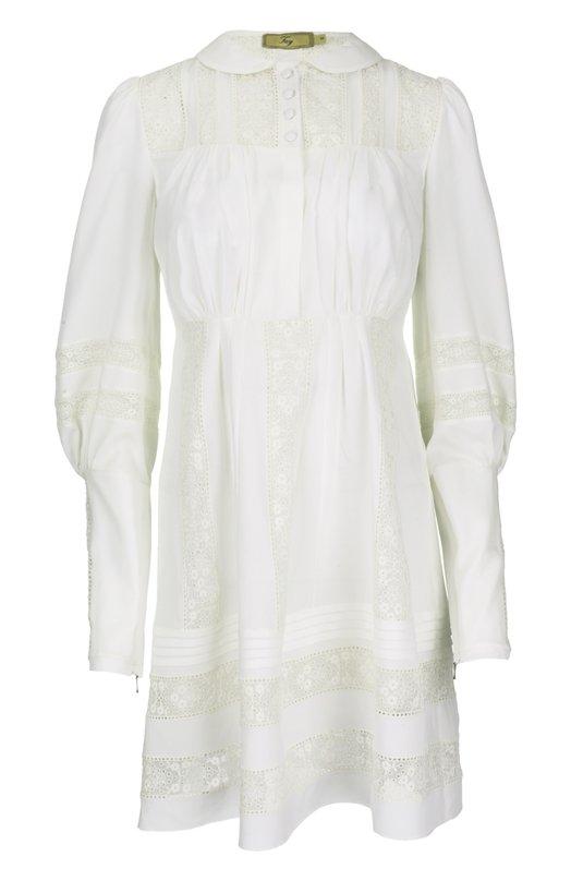 Приталенное платье с ажурными вставками и удлиненными рукавами FayПлатья<br>Белое приталенное платье с отложным воротником вошло в весенне-летнюю коллекцию 2016 года. Модель из тонкого шелка украшена ажурными кружевными вставками. Лиф с мягкими драпировками дополнен планкой с четырьмя пуговицами.<br><br>Российский размер RU: 48<br>Пол: Женский<br>Возраст: Взрослый<br>Размер производителя vendor: L<br>Материал: Отделка-хлопок: 90%; Шелк: 100%; Отделка-полиэстер: 10%;<br>Цвет: Бежевый