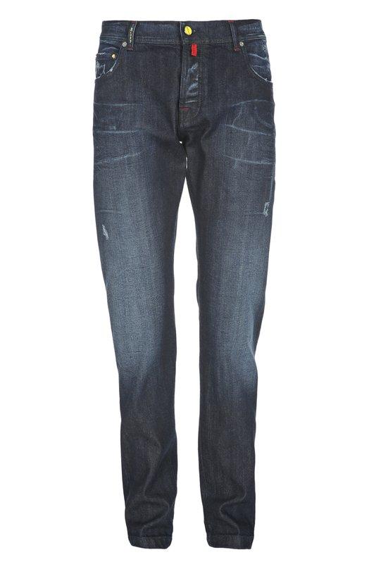 Купить Узкие джинсы с потертостями Kiton, UPNJS/8L37, Италия, Темно-синий, Хлопок: 98%; Эластан: 2%;