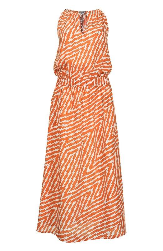 Платье миди с эластичным поясом и V-образным вырезом Nude 1103779