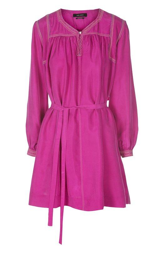 Шелковое мини-платье с поясом и контрастной отстрочкой Isabel MarantПлатья<br>Мини-платье с длинными рукавами и поясом-лентой вошло в весенне-летнюю коллекцию бренда, основанного Изабель Маран. Модель Lindley, выполненная из тонкого шелка цвета фуксии, украшена контрастной вышивкой. Вырез застегивается на перламутровую пуговицу.<br><br>Российский размер RU: 44<br>Пол: Женский<br>Возраст: Взрослый<br>Размер производителя vendor: 40<br>Материал: Шелк: 100%;<br>Цвет: Фуксия