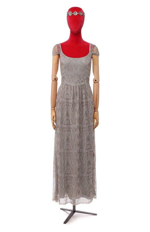 Приталенное платье в пол с вышивкой бисером Armani CollezioniПлатья<br>Макси-платье с глубоким декольте и короткими рукавами вошло в весенне-летнюю коллекцию бренда, основанного Джорджио Армани. Мастера марки украсили полупрозрачную модель из тонкого тюля вышивкой из светлого стекляруса. Рекомендуем сочетать с серебристыми босоножками.<br><br>Российский размер RU: 50<br>Пол: Женский<br>Возраст: Взрослый<br>Размер производителя vendor: 48<br>Материал: Полиамид: 100%; Подкладка-полиэстер: 100%; Стекло: 100%;<br>Цвет: Серый
