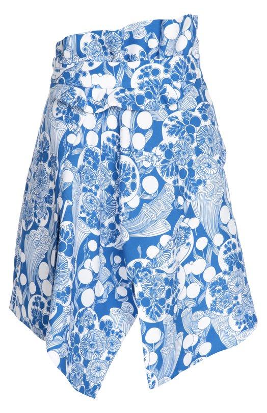 Купить Асимметричная мини-юбка с контрастным принтом Carven, 265J07, Молдова, Синий, Полиэстер: 100%;