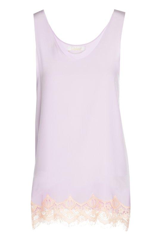 Шелковый топ с кружевной отделкой Chlo?Топы<br>Удлиненный топ из весенне-летней коллекции 2016 года декорирован полупрозрачным кружевом. Модель сшита из тонкого мягкого шелка светло-лилового цвета. Наши стилисты советуют носить с розовыми шортами и черными сандалиями.<br><br>Российский размер RU: 40<br>Пол: Женский<br>Возраст: Взрослый<br>Размер производителя vendor: 34<br>Материал: Отделка-хлопок: 70%; Отделка-полиэстер: 30%; Шелк: 100%;<br>Цвет: Лиловый