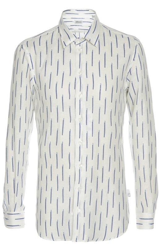 Льняная рубашка с принтом Armani CollezioniРубашки<br>В весенне-летнюю коллекцию бренда, основанного Джорджио Армани, вошла рубашка slim fit с воротником кент. При производстве модели был использован плотный белый лен с голубым паттерном. Советуем сочетать с серыми брюками, синим блейзером и коричневыми лоферами.<br><br>Российский размер RU: 58<br>Пол: Мужской<br>Возраст: Взрослый<br>Размер производителя vendor: XXXL<br>Материал: Лен: 100%;<br>Цвет: Белый