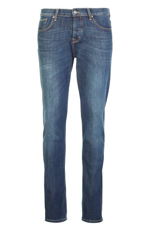 Джинсы с потертостями 7 For All MankindДжинсы<br>Джинсы slim fit с заниженной линией талии вошли в коллекцию сезона весна-лето 2016 года. При создании модели был использован темно-синий эластичный хлопок. Наши стилисты рекомендуют сочетать с серым свитером, темным жилетом и кроссовками в тон.<br><br>Российский размер RU: 46<br>Пол: Мужской<br>Возраст: Взрослый<br>Размер производителя vendor: 31<br>Материал: Хлопок: 99%; Эластан: 1%;<br>Цвет: Синий