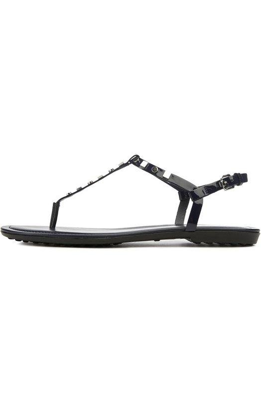Сандалии из лакированной кожи с заклепками Tod'sСандалии<br>Темно-синие сандалии выполнены из гладкой лакированной кожи. Модель с Т-образным ремешком, декорированным металлическими заклепками, вошла в коллекцию сезона весна-лето 2016 года. Гибкая подошва дополнена резиновыми шипами, характерными для обуви марки.<br><br>Российский размер RU: 37<br>Пол: Женский<br>Возраст: Взрослый<br>Размер производителя vendor: 37-5<br>Материал: Кожа натуральная: 100%; Стелька-кожа: 100%; Подошва-резина: 100%;<br>Цвет: Темно-синий