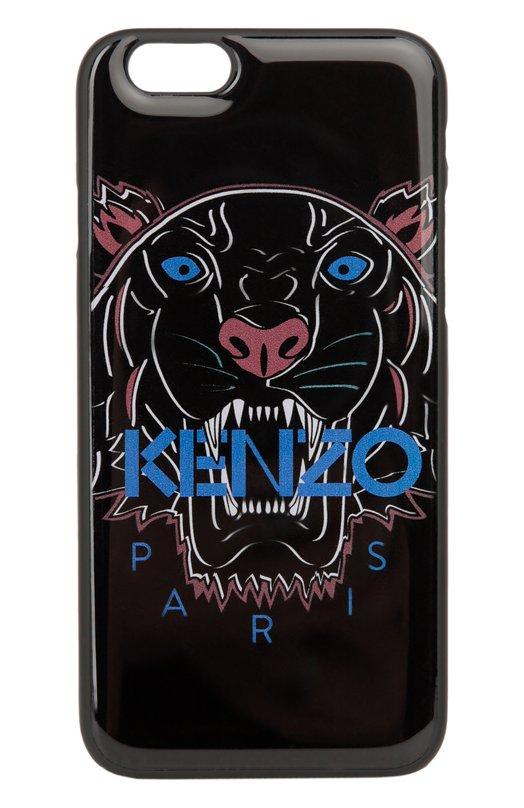 Чехол для iPhone 6 с принтом тигр KenzoЧехлы для iPhone<br>Чехол для iPhone 6 произведен из ударопрочного лакированного материала черного цвета. Аксессуар из коллекции сезона осень-зима 2016 года декорирован контрастным разноцветным принтом в виде головы тигра, характерным для изделий бренда, основанного Кензо Такада.<br><br>Пол: Женский<br>Возраст: Взрослый<br>Размер производителя vendor: NS<br>Материал: Резина: 100%;<br>Цвет: Черный