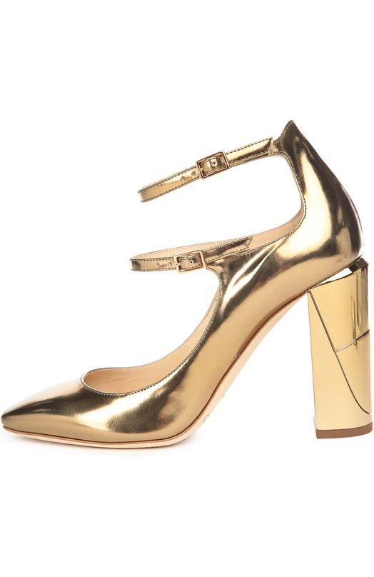 Кожаные туфли Marlowe с ремешками Jimmy ChooТуфли<br>Для создания модели Marlowe использована гладкая металлизированная кожа золотого цвета. Туфли на высоком устойчивом каблуке вошли в осенне-зимнюю коллекцию марки, основанной Джимми Чу. Обувь фиксируется на ноге двумя тонкими регулируемыми ремешками.<br><br>Российский размер RU: 37<br>Пол: Женский<br>Возраст: Взрослый<br>Размер производителя vendor: 37<br>Материал: Кожа натуральная: 100%; Стелька-кожа: 100%; Подошва-кожа: 100%;<br>Цвет: Золотой