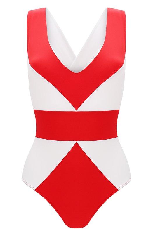 Купить Слитный купальник с контрастным принтом NATAYAKIM, NY-001, Италия, Красный, Полиамид: 90%; Эластан: 10%;