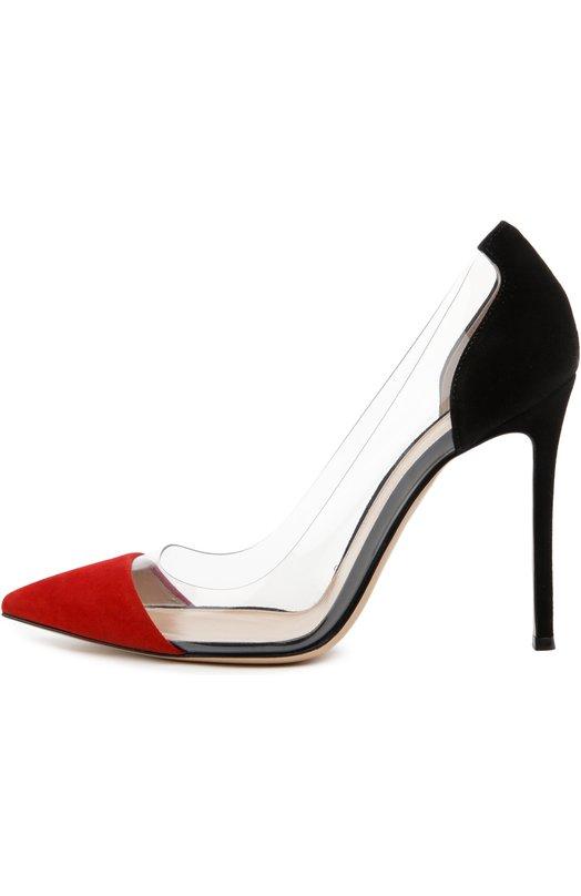 Купить Замшевые туфли Plexi на шпильке Gianvito Rossi Италия 5011062 G20140/SUEDE+PLEXI