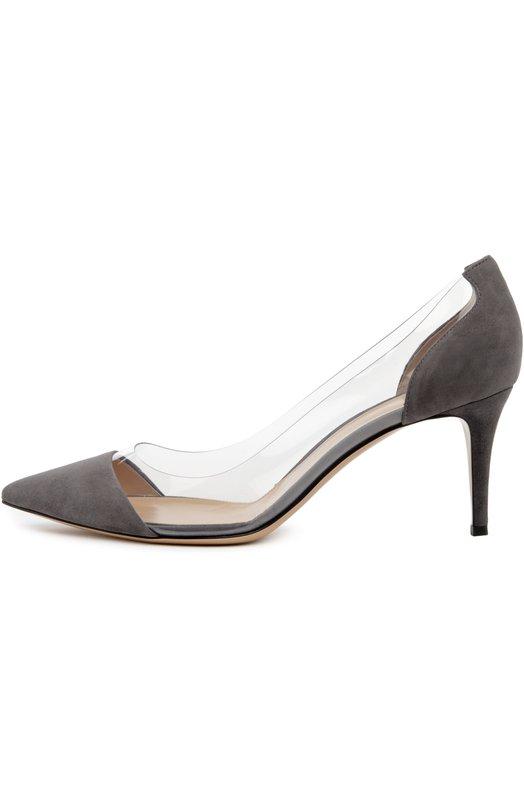 Замшевые туфли Plexi на шпильке Gianvito RossiТуфли<br>Обновленная версия модели Plexi выполнена из мягкой бархатистой замши серого цвета. Туфли на шпильке средней высоты вошли в коллекцию осень-зима 2016 года. Джанвито Росси украсил обувь с зауженным мысом боковыми вставками из прозрачного плексигласа.<br><br>Российский размер RU: 38<br>Пол: Женский<br>Возраст: Взрослый<br>Размер производителя vendor: 38-5<br>Материал: Замша натуральная: 60%; Пластмасса: 40%; Стелька-кожа: 100%; Подошва-кожа: 100%;<br>Цвет: Серый