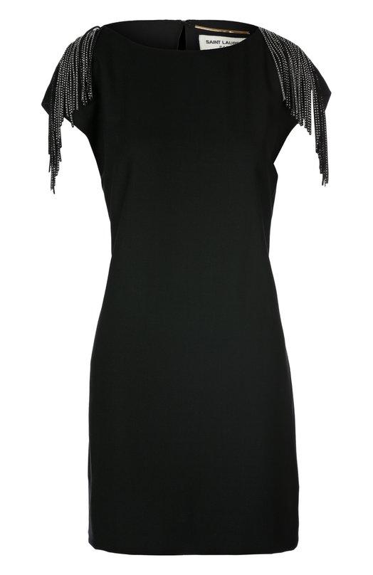 Приталенное платье с кожаной бахромой на плечах Saint LaurentПлатья<br>Приталенное мини-платье с вырезом лодочкой и короткими рукавами сшито из мягкой шерсти черного цвета. Модель вошла в весенне-летнюю коллекцию марки, основанной Ивом Сен-Лораном. В плечевые швы вшита длинная бахрома с металлическими заклепками. Советуем носить с босоножками в тон.<br><br>Российский размер RU: 42<br>Пол: Женский<br>Возраст: Взрослый<br>Размер производителя vendor: 36<br>Материал: Подкладка-шелк: 100%; Шерсть: 100%; Отделка кожа натуральная: 100%;<br>Цвет: Черный