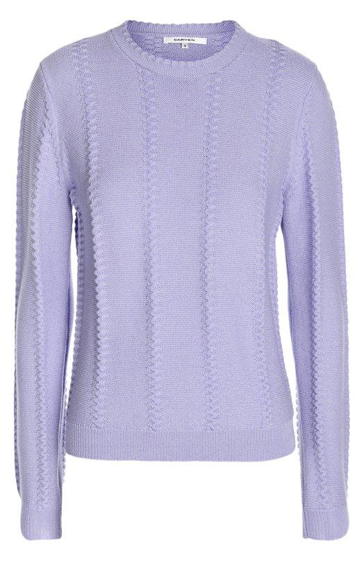 Вязаный пуловер с рельефной отделкой и круглым вырезом Carven 857PU20