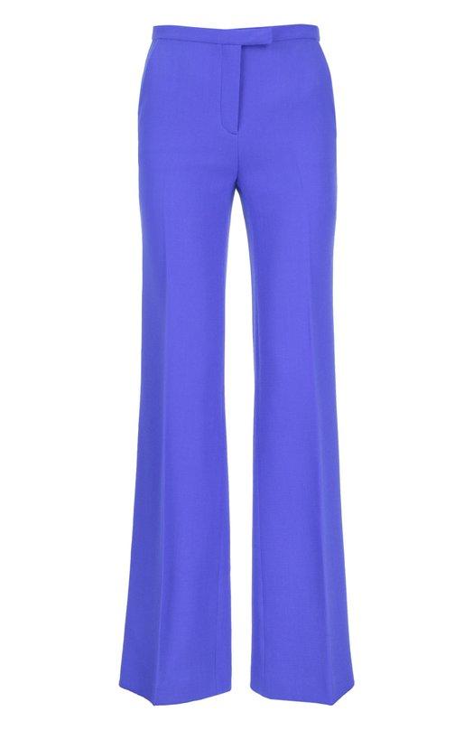 Расклешенные шерстяные брюки со стрелками KitonБрюки<br>В коллекцию сезона весна-лето 2016 года вошли расклешенные брюки со стрелками. Мастера марки выполнили изделие вручную из мягкой гладкой шерсти ярко-синего цвета. Изделие, застегивающееся на молнию и крючок, дополнено боковыми врезными карманами.<br><br>Российский размер RU: 44<br>Пол: Женский<br>Возраст: Взрослый<br>Размер производителя vendor: 42<br>Материал: Шерсть: 100%;<br>Цвет: Синий