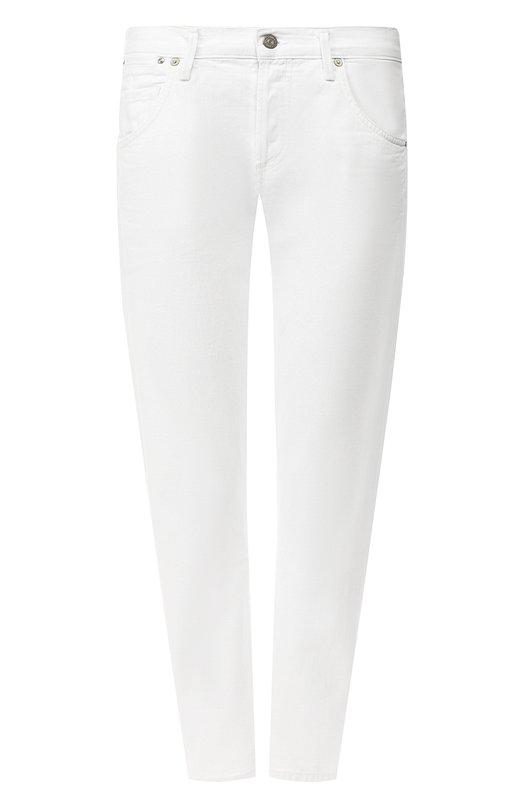 Джинсы Citizens Of HumanityДжинсы<br>Укороченные зауженные джинсы Emerson изготовлены из плотного структурированного хлопка белого цвета. Облегающее изделие декорировано металлическими заклепками с выгравированным на них логотипом бренда.<br><br>Российский размер RU: 44<br>Пол: Женский<br>Возраст: Взрослый<br>Размер производителя vendor: 27<br>Материал: Хлопок: 100%;<br>Цвет: Белый