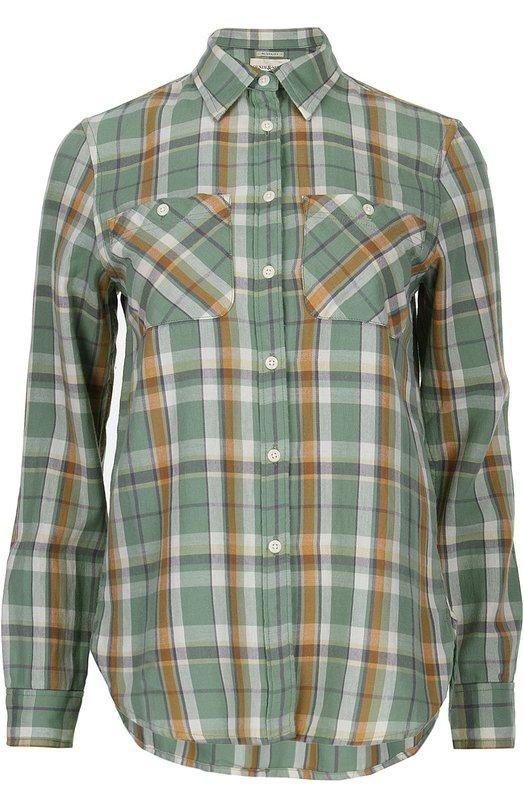 Блуза прямого кроя в клетку с накладными карманами Denim&amp;Supply by Ralph LaurenБлузы<br>При создании рубашки с удлиненной спинкой мастера бренда использовали мягкий салатовый хлопок в клетку. Модель с двумя нагрудными карманами вошла в весенне-летнюю коллекцию бренда, основанного Ральфом Лореном.<br><br>Российский размер RU: 44<br>Пол: Женский<br>Возраст: Взрослый<br>Размер производителя vendor: M<br>Материал: Хлопок: 100%;<br>Цвет: Салатовый