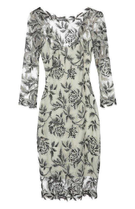 Приталенное кружевное платье с круглым вырезом Tadashi ShojiПлатья<br>Тадаши Седзи включил в весенне-летнюю коллекцию 2016 года платье-футляр с рукавами 3/4 и глубоким V-образным вырезом на спине. Модель с облегающей комбинацией в комплекте выполнена из тонкого черно-белого кружева с цветочным мотивом.<br><br>Российский размер RU: 54<br>Пол: Женский<br>Возраст: Взрослый<br>Размер производителя vendor: 16<br>Материал: Вискоза: 80%; Нейлон: 40%; Подкладка-полиэстер: 100%;<br>Цвет: Черно-белый