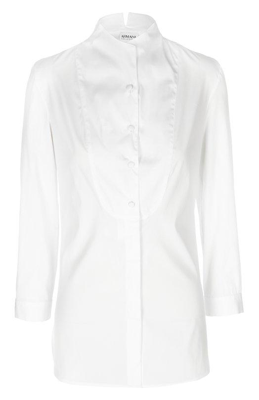 Удлиненная блуза с воротником-стойкой и манишкой Armani Collezioni TMC23T/TM330