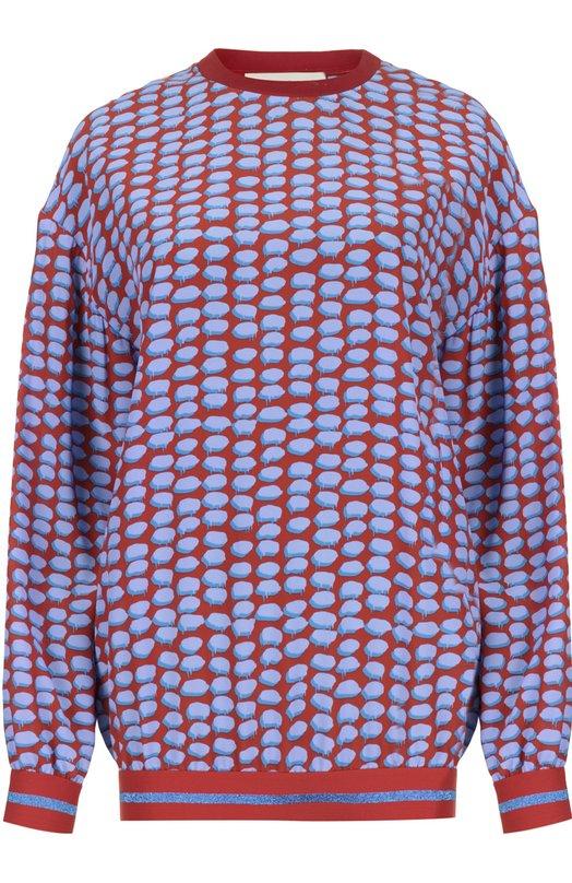 Шелковый свитшот с манжетами и ярким принтом Stella McCartneyТопы<br>Стелла Маккартни включила в весенне-летнюю коллекцию 2016 года свитшот с длинным рукавом, выполненный из мягкого принтованного шелка. Наши стилисты рекомендуют сочетать с белыми брюками, синими сандалиями на платформе и небольшой светлой сумкой.<br><br>Российский размер RU: 44<br>Пол: Женский<br>Возраст: Взрослый<br>Размер производителя vendor: 42<br>Материал: Шелк: 100%; Отделка-хлопок: 100%;<br>Цвет: Красный
