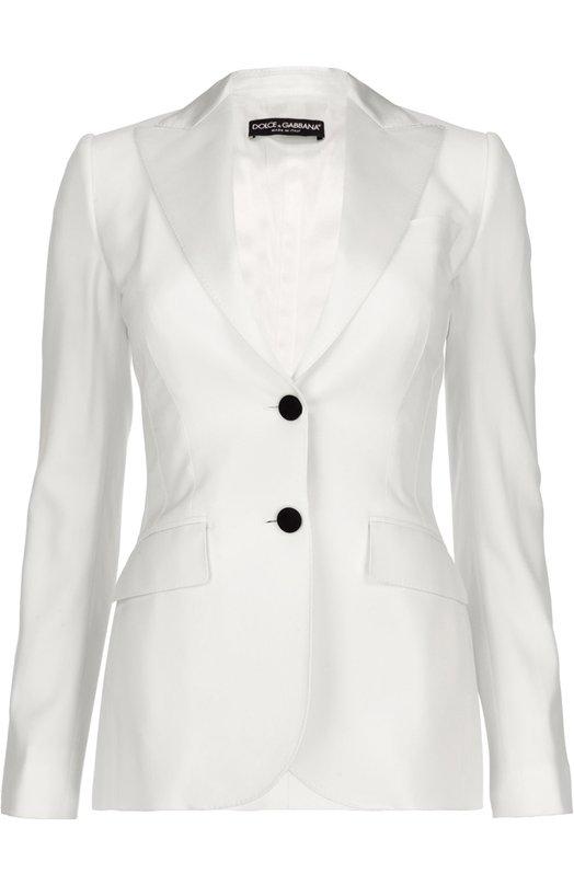 Приталенный шелковый жакет на пуговицах Dolce &amp; GabbanaЖакеты<br>Однобортный жакет из весенне-летней коллекции бренда, основанного Доменико Дольче и Стефано Габбана, застегивается на контрастные пуговицы. Модель сшита из мягкой белой шерсти с добавлением волокон шелка. Советуем носить с кружевной блузой, брюками в тон и светлыми босоножками.<br><br>Российский размер RU: 44<br>Пол: Женский<br>Возраст: Взрослый<br>Размер производителя vendor: 42<br>Материал: Подкладка-шелк: 94%; Шерсть: 90%; Подкладка-эластан: 6%; Шелк: 10%;<br>Цвет: Белый