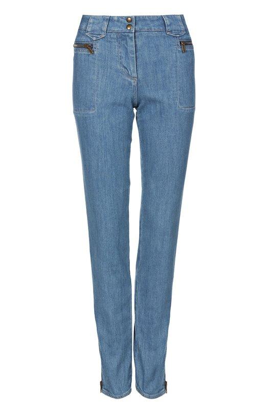 Купить Прямые джинсы с завышенной талией и карманами на молниях Roberto Cavalli, CWJ213/DS001, Италия, Синий, Хлопок: 98%; Эластан: 2%;