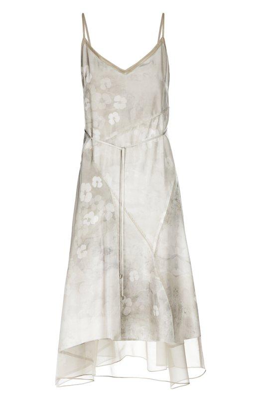 Шелковое платье-комбинация с поясом Elie Tahari E306V606