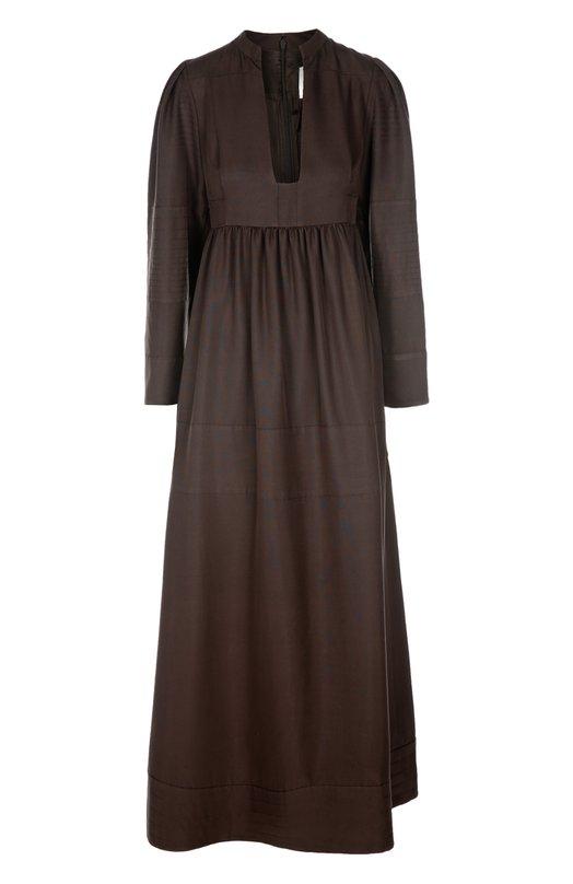 Платье в пол с завышенной талией и глубоким вырезом ValentinoПлатья<br>Длинное коричневое платье с завышенной линией талии выполнено из плотного шелка с матовым блеском. Модель с глубоким вырезом и длинным рукавом вошла в весенне-летнюю коллекцию бренда, основанного Валентино Гаравани.<br><br>Российский размер RU: 44<br>Пол: Женский<br>Возраст: Взрослый<br>Размер производителя vendor: 42<br>Материал: Шелк: 100%; Подкладка-шелк: 100%;<br>Цвет: Коричневый