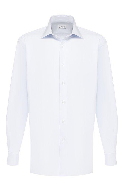 Купить Хлопковая сорочка с воротником кент Brioni, RCL4/PZ001, Италия, Светло-голубой, Хлопок: 100%;
