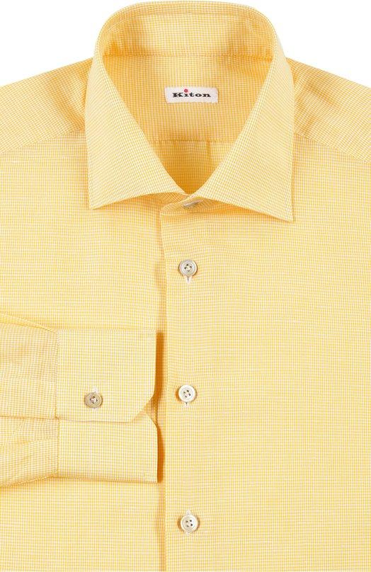 Рубашка с воротником кент в мелкую клетку Kiton UCID/H003622