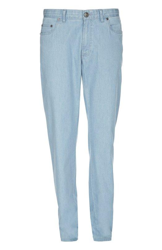 Прямые джинсы из эластичного хлопка BrioniДжинсы<br>Мастера бренда изготовили прямые джинсы с заниженной линией талией из тонкого плотного хлопка стрейч с добавлением эластичных нитей. Модель светло-голубого цвета вошла в коллекцию сезона весна-лето 2016 года.<br><br>Российский размер RU: 58<br>Пол: Мужской<br>Возраст: Взрослый<br>Размер производителя vendor: 40-R<br>Материал: Хлопок: 98%; Эластан: 2%; Спандекс: 2%;<br>Цвет: Светло-голубой