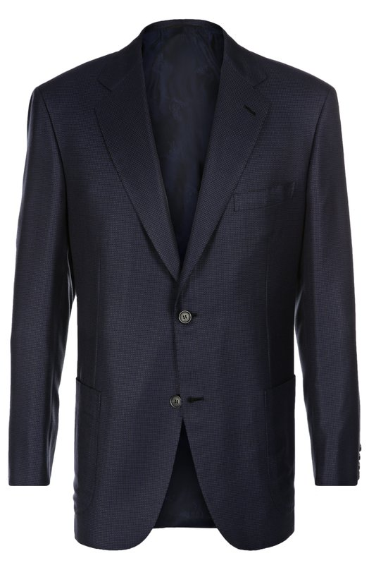 Пиджак из смеси шелка с шерстью BrioniПиджаки<br>Приталенный пиджак темно-синего цвета выполнен из легкого шелка с добавлением тонких шерстяных нитей. Однобортная модель вошла в коллекцию сезона весна-лето 2016 года. Блейзер в мелкую клетку дополнен накладными боковыми и одним нагрудным прорезным карманами.<br><br>Российский размер RU: 56<br>Пол: Мужской<br>Возраст: Взрослый<br>Размер производителя vendor: 54-R<br>Материал: Шелк: 60%; Шерсть: 40%; Подкладка-купра: 100%;<br>Цвет: Темно-синий