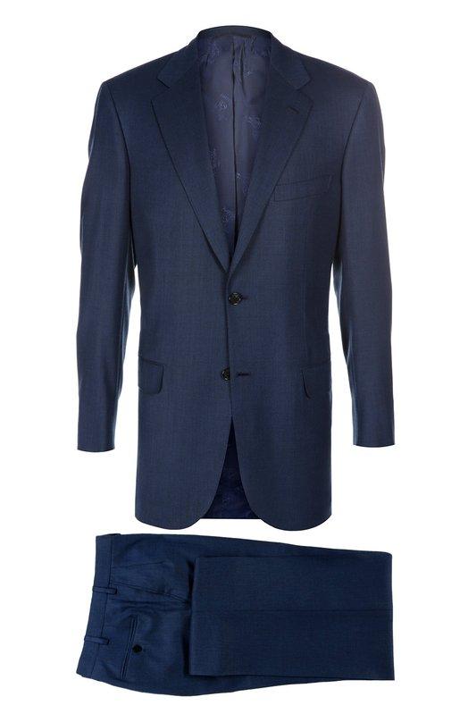 Шерстяной приталенный костюм BrioniКостюмы<br>Костюм синего цвета вошел в коллекцию сезона весна-лето 2016 года. Однобортный приталенный пиджак с прорезными карманами с клапанами дополнен брюками со стрелкой. Модель выполнена из тонкой мягкой шерсти.<br><br>Российский размер RU: 56<br>Пол: Мужской<br>Возраст: Взрослый<br>Размер производителя vendor: 52-C<br>Материал: Шерсть: 100%; Подкладка-купра: 100%;<br>Цвет: Темно-синий
