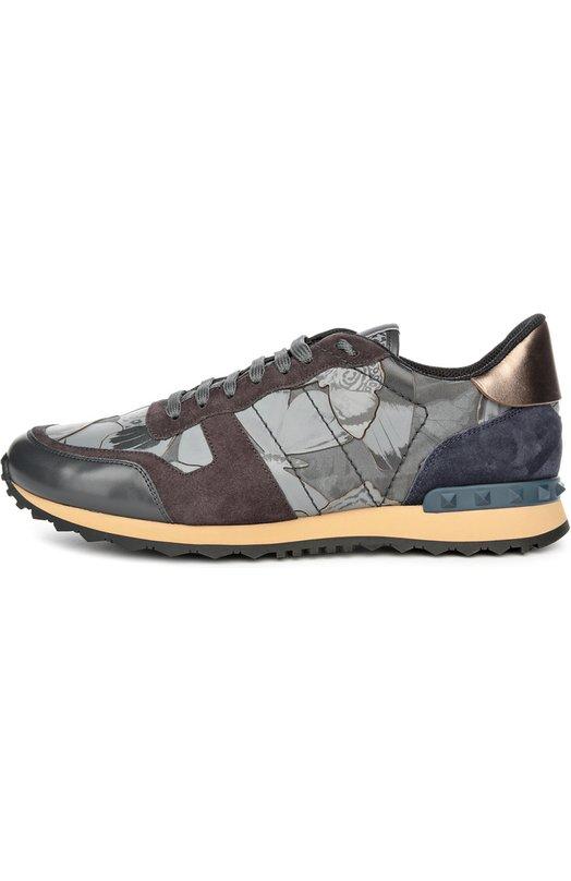 Кроссовки color block с кожаными вставками и принтом Valentino LY2S0723/TNJ