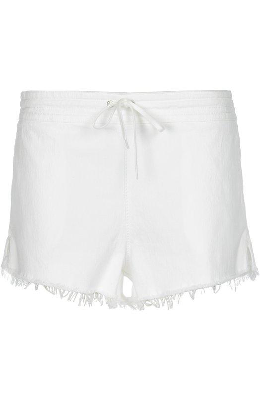 Джинсовые мини-шорты с бахромой и эластичным поясом Chloe 16EDS05/16E154