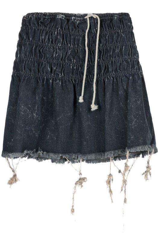 Джинсовая мини-юбка с необработанным краем Chlo?Юбки<br>Клэр Уэйт Келлер включила в коллекцию сезона весна-лето 2016 года джинсовую мини-юбку из плотного синего хлопка с небольшими потертостями. Модель дополнена резинками, пояс-кулиска — тонким контрастным шнурком. Края намеренно не обработаны.<br><br>Российский размер RU: 48<br>Пол: Женский<br>Возраст: Взрослый<br>Размер производителя vendor: 42<br>Материал: Хлопок: 100%;<br>Цвет: Синий