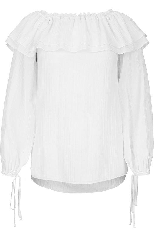 Блуза с открытыми плечами и широкими рукавами Michael KorsБлузы<br>Блуза прямого кроя, с открытой линией плеч и широкими длинными рукавами вошла в весенне-летнюю коллекцию 2016 года. Мастера марки сшили изделие из легкого белого хлопка. Майкл Корс дополнил модель широкими воланами, эластичные манжеты — длинными шнурками. Советуем сочетать с темными шортами и сандалиями.<br><br>Российский размер RU: 40<br>Пол: Женский<br>Возраст: Взрослый<br>Размер производителя vendor: XS<br>Материал: Хлопок: 100%;<br>Цвет: Белый