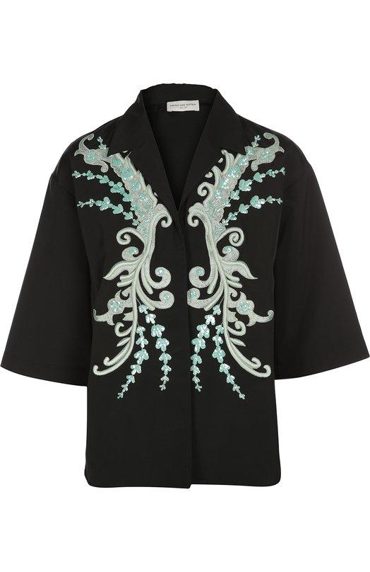 Приталенная блуза с укороченным рукавом, вышивкой и пайетками Dries Van NotenБлузы<br>В коллекцию сезона весна-лето 2016 года вошла блуза с короткими рукавами и остроконечными лацканами. Дрис ван Нотен декорировал черное изделие из плотного хлопкового поплина контрастной вышивкой и пайетками. Модель застегивается на потайные кнопки.<br><br>Российский размер RU: 46<br>Пол: Женский<br>Возраст: Взрослый<br>Размер производителя vendor: 42<br>Материал: Триацетат: 57%; Хлопок: 43%;<br>Цвет: Черный