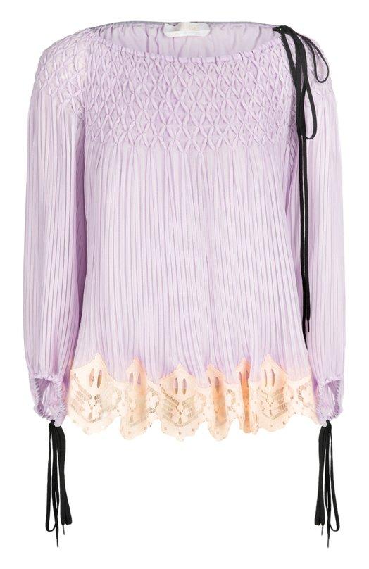 Плиссированная блуза с вырезом-лодочка и шнуровкой Chloe 16EHT95/16E011
