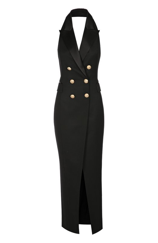 Двубортное платье в пол с открытой спиной BalmainПлатья<br>При производстве облегающего платья с высоким разрезом мастера бренда использовали мягкую плотную шерсть черного цвета. Модель с американской проймой, открывающей спину и плечи, вошла в весенне-летнюю коллекцию марки, основанной Пьером Бальманом. Изделие застегивается сзади на молнию.<br><br>Российский размер RU: 46<br>Пол: Женский<br>Возраст: Взрослый<br>Размер производителя vendor: 40<br>Материал: Подкладка-вискоза: 52%; Подкладка-хлопок: 48%; Шерсть: 100%; Отделка-шелк: 100%;<br>Цвет: Черный