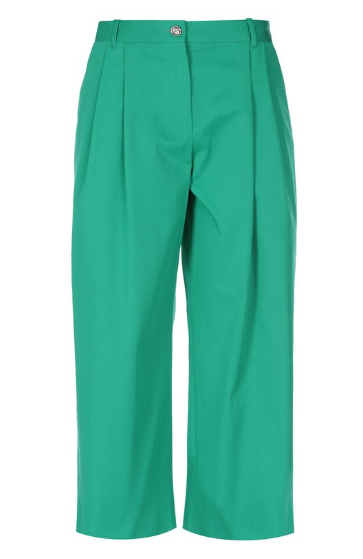 Укороченные широкие брюки с защипами Dolce &amp; GabbanaБрюки<br>Доменико Дольче и Стефано Габбана включили в весенне-летнюю коллекцию 2016 года кюлоты с защипами. Модель сшита из плотного хлопка с добавлением нитей эластана. Наши стилисты рекомендуют сочетать с прямым жакетом и сандалиями на платформе.<br><br>Российский размер RU: 44<br>Пол: Женский<br>Возраст: Взрослый<br>Размер производителя vendor: 42<br>Материал: Хлопок: 98%; Эластан: 2%;<br>Цвет: Зеленый