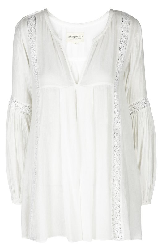 Удлиненная блуза с V-образным вырезом и кружевной вставкой Denim&amp;Supply by Ralph LaurenБлузы<br>В осенне-зимнюю коллекцию бренда, основанного Ральфом Лореном, вошла белая блуза свободного кроя, с V-образным вырезом и длинными рукавами. Модель из мягкой полупрозрачной марлевки украшена вставками из кружева в тон. Нам нравится сочетать с расклешенными джинсами и бежевыми босоножками.<br><br>Российский размер RU: 48<br>Пол: Женский<br>Возраст: Взрослый<br>Размер производителя vendor: L<br>Материал: Хлопок: 55%; Вискоза: 45%; Отделка-полиэстер: 100%;<br>Цвет: Белый