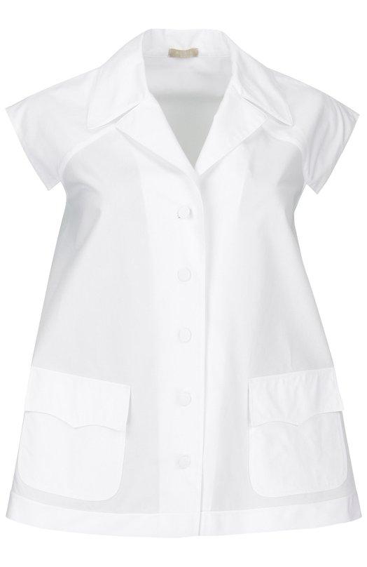 Блуза свободного кроя без рукавов с кружевной вставкой AlaiaБлузы<br>Расклешенная блуза без рукавов вошла в весенне-летнюю коллекцию бренда, основанного Аззедином Алайя. Модель из тонкого хлопка белого цвета застегивается на пуговицы в тон. Спинка декорирована кружевной вставкой. Нам нравится сочетать с голубыми джинсами, светлыми босоножками и желтой сумкой.<br><br>Российский размер RU: 46<br>Пол: Женский<br>Возраст: Взрослый<br>Размер производителя vendor: 40<br>Материал: Хлопок: 100%;<br>Цвет: Белый